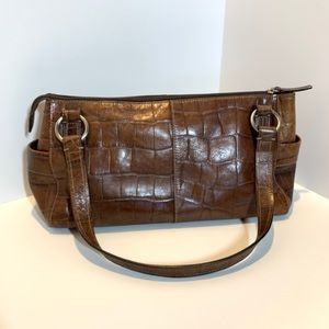 Fossil All Leather Croc Embossed Bag EUC